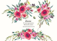 Watercolor Carmine Floral Clip Art by PatishopArt on @creativemarket