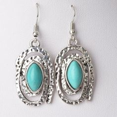 Amazon.com: $8.99 Ginasy Turquoise Silver Plated Drop Earrings: Jewelry