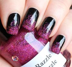 Black with Hot Pink Glitter Manicure Written by Lindsey R, March 6th, 2014