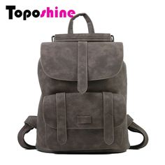 Daily Offers $16.90, Buy Toposhine New Design Women Backpack Solid Hasp Female Bag Fashion Girls School Bags Lady Soft PU Leather Bag Women Backpack 1523