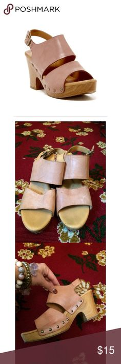 Korks by Korkease Wood Platform Truly the most comfortable platform ever! Buttery soft leather and a soft footbed. You can truly wear these all day! In good used condition condition, some cracking below the foot bed- but not noticeable in look or wear Kork-Ease Shoes Mules & Clogs