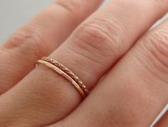 Rose Gold Stack Rings Delicate thin gold thumb ring by bluebirdss