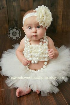 Baby Girl in pearls and floral headband
