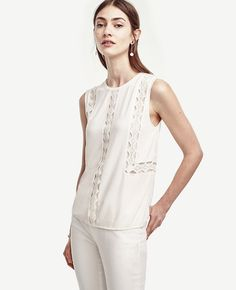 """Embrace+lace:+this+new+arrival+is+detailed+with+lovely+lace+insets+for+a+beautifully+bespoke+touch.+Crew+neck.+Sleeveless.+Side+slits.+Back+keyhole+with+hook-and-eye+closure.+25""""+long."""