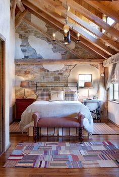 Love the exposed wall and beams.