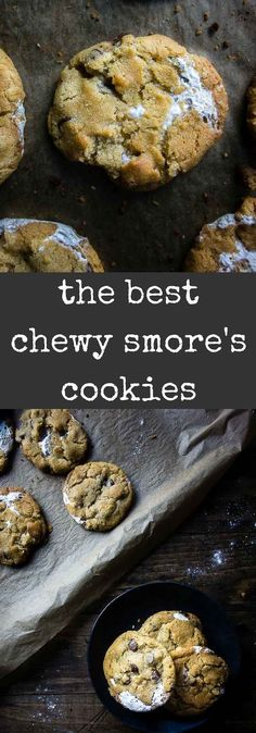 These Chewy S'mores Cookies are made with graham crackers and chocolate chips, then stuffed with marshmallow fluff for the best chewy cookies ever! The boyfriend's all time favorite cookies!!  S'mores | marshmallow cookies | easy S'mores cookies | graham