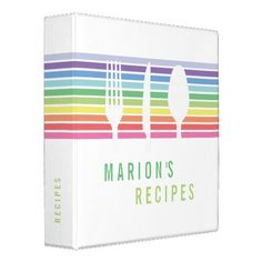 Modern White Rainbow Cutlery Cooking Recipe Binder