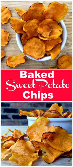 Oven Baked Sweet Potato Chips Crunchy sweet potato chips are baked low and slow in the oven and make a super satisfying and healthy snack.Crunchy sweet potato chips are baked low and slow in the oven and make a super satisfying and healthy snack. Sweet Potato Chips Oven, How To Cook Sweet Potato, Baked Veggie Chips, Sweet Potato Snack, Simple Sweet Potato Recipes, Oven Baked Chips, Sweet Potato Crisps, Baked Potato, Savory Snacks