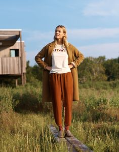 eec796eec35 madewell track trousers worn with dreamer graphic tee