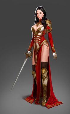f npc Ranger noble Med Armor Sword urban Castle undercity lg Fantasy Girl, Fantasy Female Warrior, Fantasy Art Women, Female Knight, Fantasy Armor, Anime Fantasy, Dark Fantasy, Female Art, Woman Warrior
