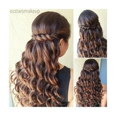 Prom Hairstyle Beautiful curls with a twisted braid can be nice for a Quince or Sweet 16 hairstyle. found on Polyvore featuring polyvore, beauty products, haircare, hair styling tools, hair, hairstyles and hair styles