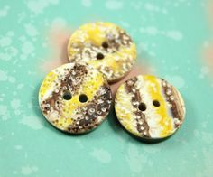 Specail Plastic Buttons - Yellow Volcanic Rock Textrue Plastic Buttons. 0.71 inch, 10 pcs. by Lyanwood, $5.00