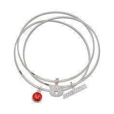 LogoArt Auburn Tigers Silver Tone Crystal Charm Bangle Bracelet Set, Women's, Orange