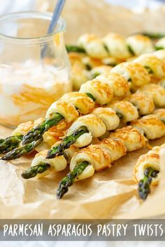 Parmesan Asparagus Pastry Twists are cool looking appetizers ready in less than 30 minutes Wrap Asparagus in puff pastry sprinkle with Parmesan bake and enjoy appetizeraddiction parmesan asparagus puffpastry recipe appetizers partyfood # Veggie Dishes, Veggie Recipes, Vegetarian Recipes, Cooking Recipes, Avocado Recipes, Steak Recipes, Seafood Recipes, Side Dishes, Parmesan Asparagus