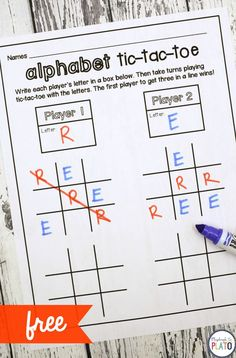 Help kids recognize alphabet letters and memorize sight words by playing a twist on an old classic: Tic-Tac-Toe. The game's great to use as a literacy center, homeschool activity or word work station! Alphabet Activities, Literacy Activities, Literacy Centers, Language Activities, Teaching Sight Words, Teaching Letters, Word Work Stations, Playdough To Plato, Letter Recognition