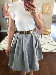 Ruffle Sleeve Mock Neck Sweater, LIVING THE DREAM SKIRT IN GREY, spring outfit, petite fashion blog - click the photo for outfit details!