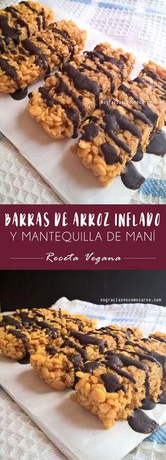 Barras de arroz inflado y mantequilla de maní | Receta vegana.