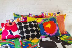 Marimekko Home S/S 2016 press event Small Cushions, Cushions On Sofa, Throw Pillows, Contemporary Cushions, Marimekko, Textiles, Vintage Fabrics, Illustrations, Decoration
