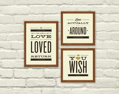 MOVIE LOVE QUOTES, Typography, Nursery, Valentines Day, 5 x 7 Art Prints,  Music, Indie, Moulin Rouge, Love Actually, The Princess Bride. $30.00, via Etsy.