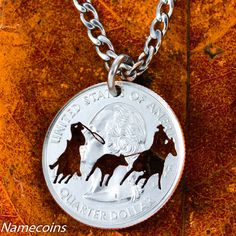 Team Roping necklace, Western jewelry hand Cut Coin, On quarter