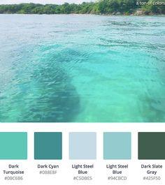 Ocean Color Palette, Cool Color Palette, Ocean Colors, Tropical Colors, Bedroom Color Schemes, Colour Schemes, Color Combinations, Slytherin, Art Nouveau