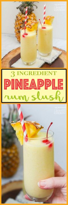 This pineapple rum slush is the perfect quick cocktail for a crowd, or for a nice refreshing drink after windingdown from a hot summer day.#mixeddrinks #rumdrinks #slushies #cocktails Fancy Drinks, Cocktail Drinks, Cocktail Recipes, Alcoholic Drinks, Beach Cocktails, Bourbon Drinks, Refreshing Drinks, Summer Drinks, Frozen Rum Drinks