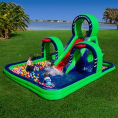 Summer cool is suppose to be fun! Kids Jet Stream Inflatable Bounce House Water Park and Slide Starter Package Included. Inflatable Water Park, Inflatable Bounce House, Inflatable Island, Backyard Water Parks, Backyard Toys, Bouncy House, Kids Slide, Noah, Water Toys
