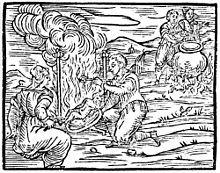 Grabado del Compedium maleficarum de Francesco Maria Guazzo que representa a unos brujos y brujas preparando el banquete del aquelarre Aquelarre - Wikipedia, la enciclopedia libre