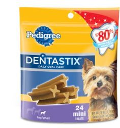 Pedigree Dentastix Daily Oral Care Mini Snack Food for Toy/Small Dogs, 6-Ounce Pouches (Pack of 12) by Pedigree.