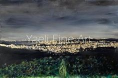 A vision that can never get old!! I can just feel that Yerushalayim air as I try to take it all in, right?? One of the best scenes ever..!! • The entire city is done with gold leaf - three different gold tones. Figured it would do it most justice. Hope it does for you. Nighttime scene, Jerusalem painting.