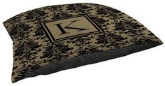 Thumbprintz Damask Indoor/Outdoor Pet Bed, Monogrammed Letter K, Black and Gold *** Check out this great image  : dog beds