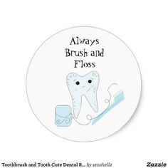 Cute tooth and toothbrush dental stickers!  #dental #dentists