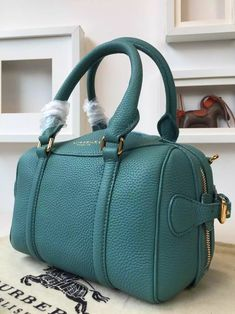 Burberry 39733391 The Mini Bee In Grainy Qqua Green Leather 2015 Bowling  Bags 75e27656d8d9c