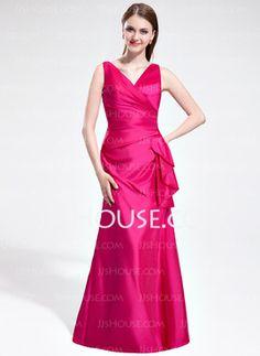 Sheath V-neck Floor-Length Taffeta Bridesmaid Dress With Ruffle (007025366) - JJsHouse