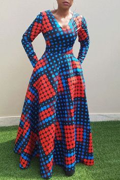 Vintage Polka Dots Long Dress African Clothing Long Sleeve Autumn Winter Swing Printed Ladies Tunic Retro Dress Size M Color Blue Latest African Fashion Dresses, African Dresses For Women, African Print Fashion, African Attire, African American Fashion, Polka Dot Long Dresses, African Traditional Dresses, The Dress, Dress Long