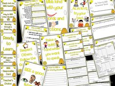 Bee themed classroom management pack- I used this in my classroom last year and it worked great! Includes clip chart, rule posters, accountability forms, behavior report for to send to parents, and more! $  http://www.janetcampbell.ca/