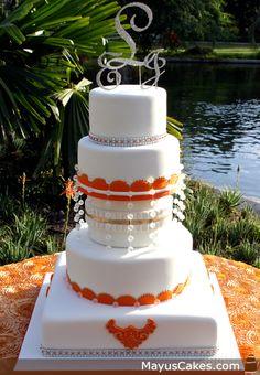 Monogram White & Orange Wedding Cake