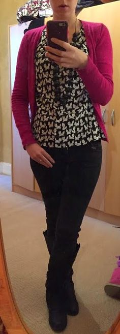 The Girl With Nothing to Wear: Black top, pink cardigan, black jeans, work style, fall winter style