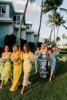 Inspired by the relaxed yet glamorous aesthetic of the Ocean Reef Club, the couple wanted to create a wedding weekend that would encourage guests to truly unwind. Wedding Weekend, Summer Wedding, Dream Wedding, Glamorous Wedding, Printed Bridesmaid Dresses, Wedding Dresses, Mismatched Bridesmaid Dresses, Wedding Attire, Wedding Bride
