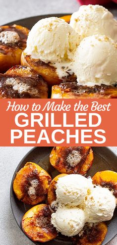 Our recipe for Grilled Peaches is the easiest dessert for summer! Fresh and juicy peaches grilled with butter, brown sugar, and cinnamon. Top with ice cream and enjoy! Desserts For A Crowd, Easy No Bake Desserts, Best Dessert Recipes, Summer Desserts, Summer Recipes, Easy Recipes, Grilled Desserts, Grilled Fruit, Grilled Peaches
