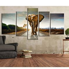 e-FOYER toile tendue art de marcher sur la route de l'éléphant décoratif ensemble de cinq de peinture - EUR € 164.99