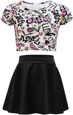 Amazon.com: Kids Girls Love Graffiti Crop Top & Black Skater Skirt Set 7 8 9 10 11 12 13 Yr: Clothing Crop Tops For Kids, Girls Crop Tops, Skirts For Kids, Black Crop Tops, Skater Girl Outfits, Kids Outfits Girls, Cute Outfits For Kids, Kids Girls, 4 Kids