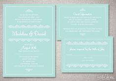 """Romantic Vintage """"Madeline"""" Custom Wedding Invitations Suite in Mint - Classic Elegant Invite - DIY Digital Printable or Printed Invitation on Etsy, $75.00"""