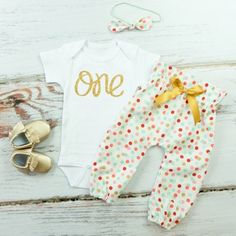 Coral, Mint & Gold Confetti High Waisted Pants Outfit, 1st Birthday Pants Outfit with Knotted Headband | Gold One