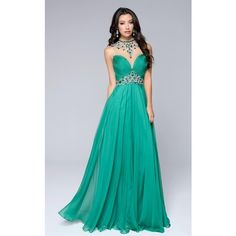 Nina Canacci 1246 Prom Long Dress Long High Neckline Sleeveless ($338) ❤ liked on Polyvore featuring dresses, gowns, formal dresses and green