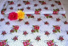 Lady Luau on White Fabric - Loralie Designs High Quality Fabric - Hibiscus Flowers! by AllenHeart on Etsy