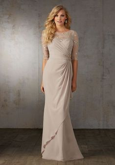 Evening Gowns and Mother of the Bride Dresses by Morilee designed by Madeline Gardner. Chiffon Gown Accented with a Beaded Lace Bodice.