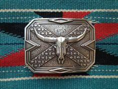 Vintage Longhorn Rebel Flag Belt Buckle