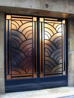 "I like this pair of art deco doors, but I wonder if they're a little too ""art deco hotel elevator doors"". Best Picture For art deco interior australia For Your Taste You are looking for something, a Art Nouveau, Art Deco Paris, Paris Art, Moda Art Deco, Art Deco Door, Art Deco House, Window Grill Design, Estilo Art Deco, Art Deco Stil"