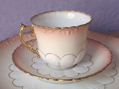 Antique 1890's Aynsley pink tea cup and saucer by ShoponSherman